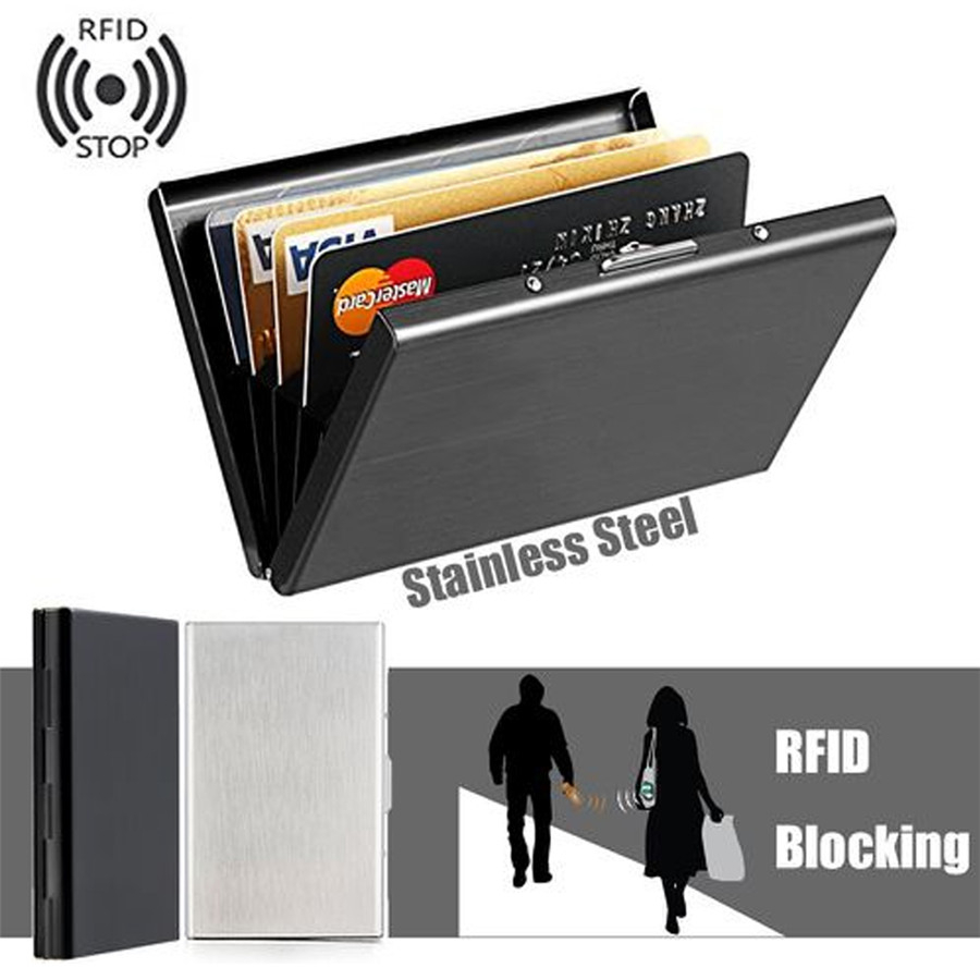 Anti-Scan RFID 1 PC Stainless Steel ID Credit Card Holder Slim Blocking Wallet Case Business Card Protection Holder Case