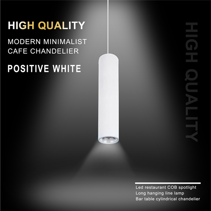 White High Quality Modern Minimalist Cafe Chandeliers Positive White Led Restaurant COB Spotlights Long Tube Hanging Lamp Bar Ta