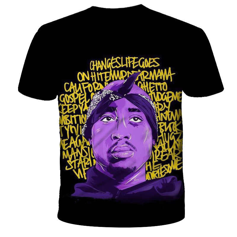 2019 nueva camiseta de moda de verano para hombres y mujeres rapero 2pac Tupac 3d estampado Hip hop camisetas Casual Cool camiseta para hombre talla grande 5XL