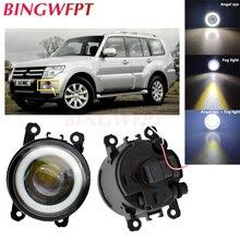 2pcs NEW Angel Eyes front bumper LED fog Lights with len  For Mitsubishi Pajero Sport Montero Sport Nativa Prajero Dakar
