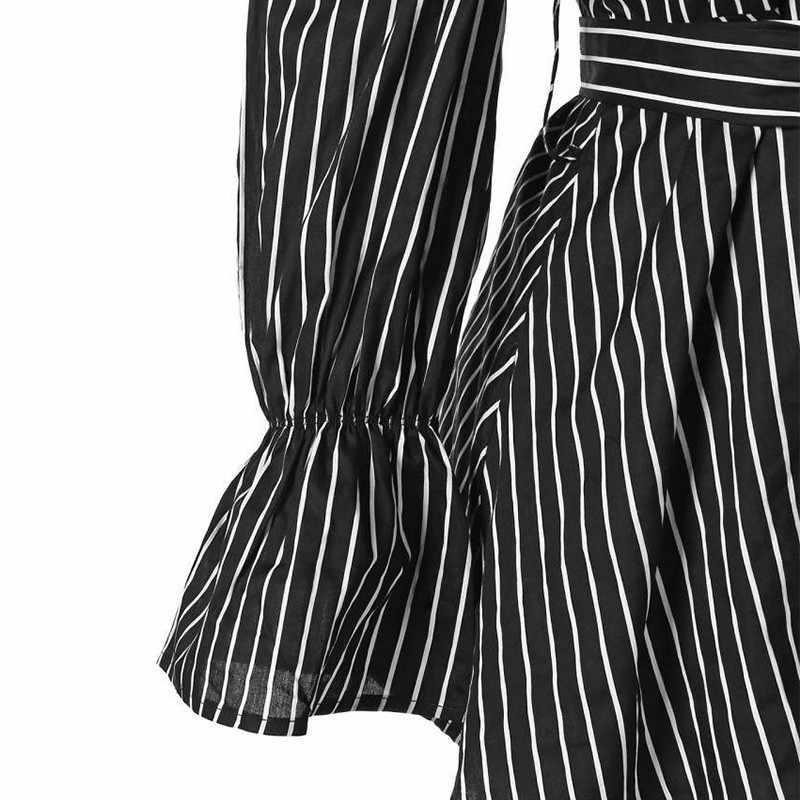Blusa a rayas de encaje para mujer, Tops de talla grande, blusa de manga larga con hombros descubiertos, blusa a la moda Sexy Simple con cuello Barco, blusa que combina con todo