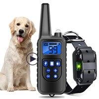 Wasserdicht Wiederaufladbare 800m Hund Ausbildung Kragen Fernbedienung mit 70cm pu gürtel kragen für Alle Größe Schock Vibration sound 40%