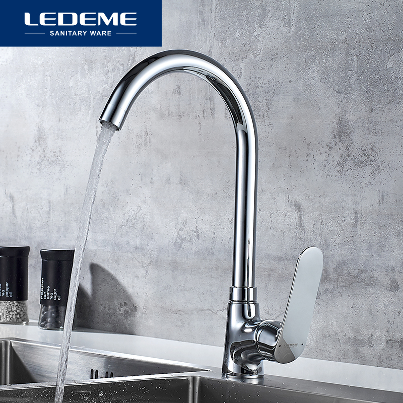 LEDEME Kitchen Faucet Cold And Hot Water Tap Chrome Color Rotating  Kitchen Sink Faucets Brass Taps Kitchen Mixer L4072