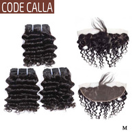 Code Calla Deep Wave Hair Bundles With13*4 Lace Frontal Indian Remy Curly Human Hair Extensions Natural Black Color For Women