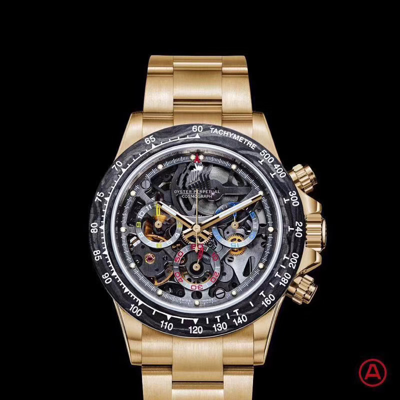 Luxury Brand New Silver Rose Gold Black Skeleton Japanese Quartz Chronograph Stainless Steel Men Watches Sapphire Ceramic Bezel