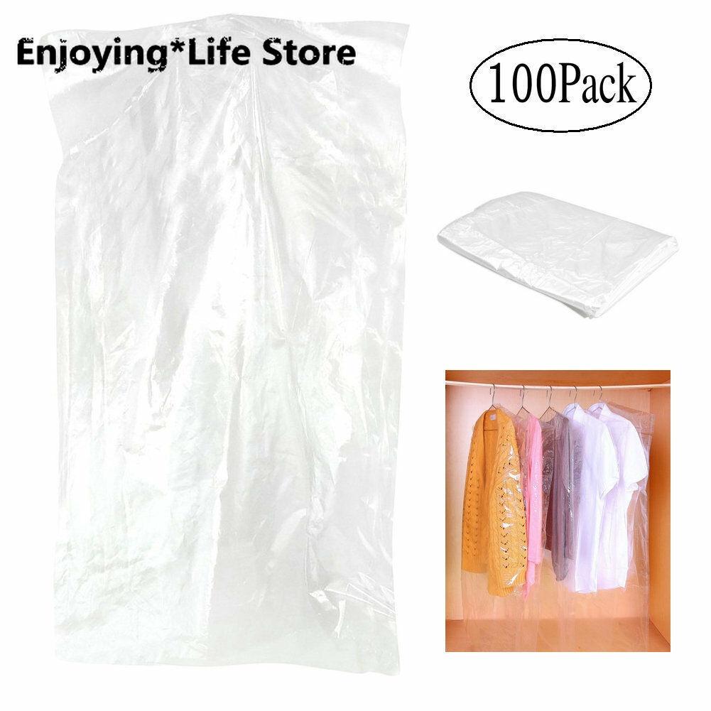 Упаковка из 100 сумок для одежды, прозрачный полипропиленовый пакет для костюма, пылезащитный чехол для одежды|Складные сумки для хранения|   | АлиЭкспресс