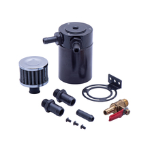 universal car oil catch can tank with breather compact dual cylinder polish baffled engine air oil separator tank reservoir kit 2-port Separator Recycling Accessories Universal Pot Exhaust Car Oil Catch Can Tank Aluminium Alloy Universal