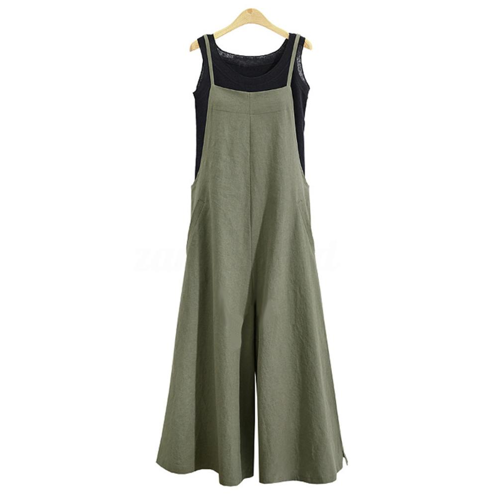 Fashion Women Loose Breathable Sleeveless Long Jumpsuit Overalls Solid Color cotton street Fashion lady jumpsuits
