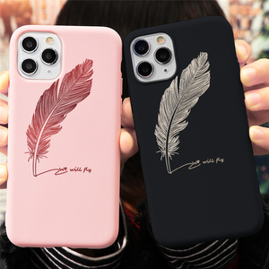 Feather Soft TPU Case For iPhone 7 8 6 S 6s Plus 5 5S SE 2020 Letter King Queen Coque For iPhone 12 mini 11 Pro XR XS Max Cover