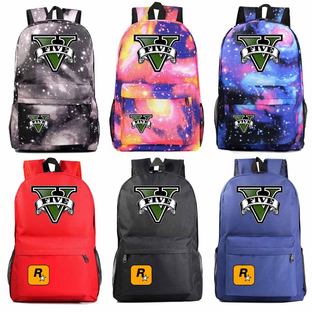 Fashion Hot Game GTA5 Grand Theft Auto V Boy Girl Book School Bag Women Bag Pack Teenagers Schoolbags Men Student Backpack