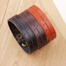 Men Bangle Retro Cuff Leather Bracelet Scale Ruler Genuine Leather Charm Snap Button Bracelet Friend Gift(China)