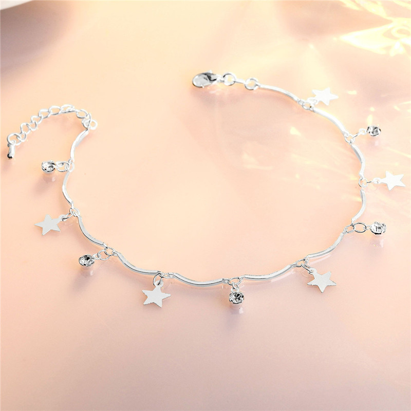 Top Quality 925 Sterling Silver Anklets For Women Jewelry Fashion Crystal Star Bracelets Girls Princess Accessories Foot Charm
