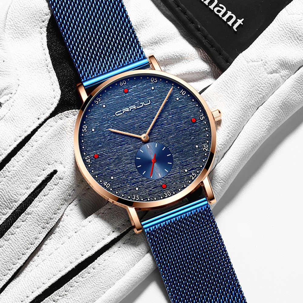 CRRJU montre hommes mode affaires montres hommes décontracté étanche Quartz montre-bracelet bleu acier horloge Relogio Masculino
