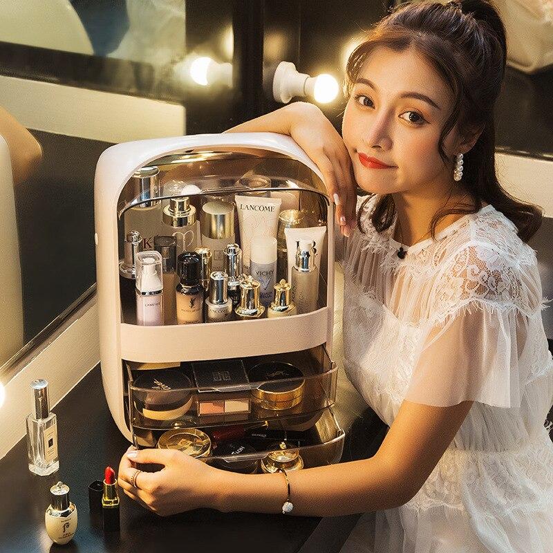 Boîte de rangement cosmétique Portable anti-poussière stockage de bureau produits de soins de la peau rouge à lèvres coiffeuse finition Rack boîte en plastique