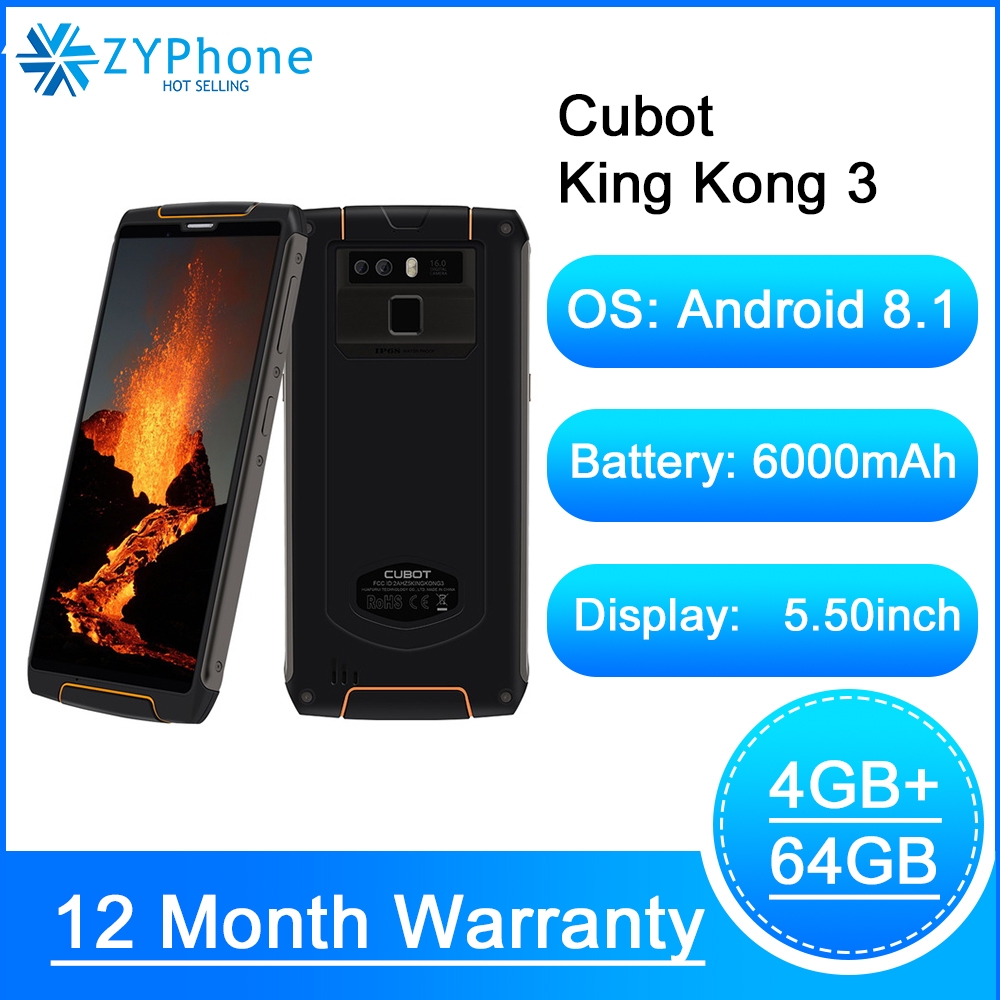Cubot King Kong 3 Rugged Refurbished Blackview Phone With 6000mAh Battery And 4GB RAM 64GB ROM