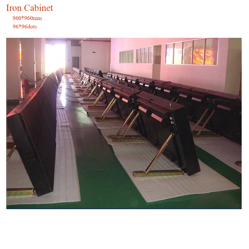 960*960mm Iron Cabinet Rental Outdoor P10 Rgb LED Display Football Basketball Court  Screen