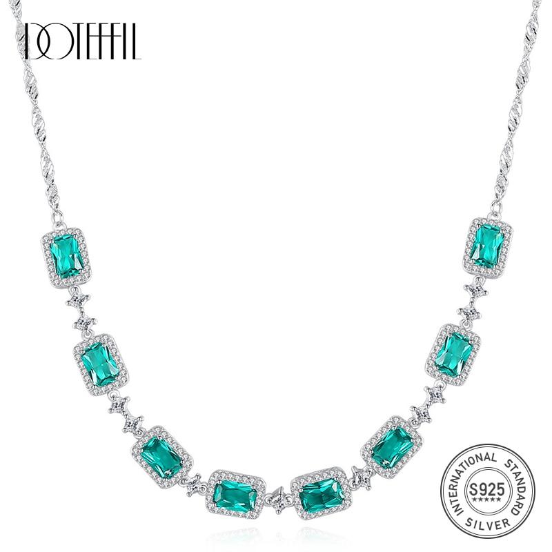 DOTEFFIL luxe émeraude mariage pendentif collier pour femmes charmant à la mode chaîne lien collier 925 argent Sterling Fine bijoux
