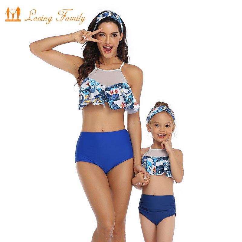 Mommy and Me Swimsuits Daughter Beach Bikini Set Girls Family Matching Swimwear