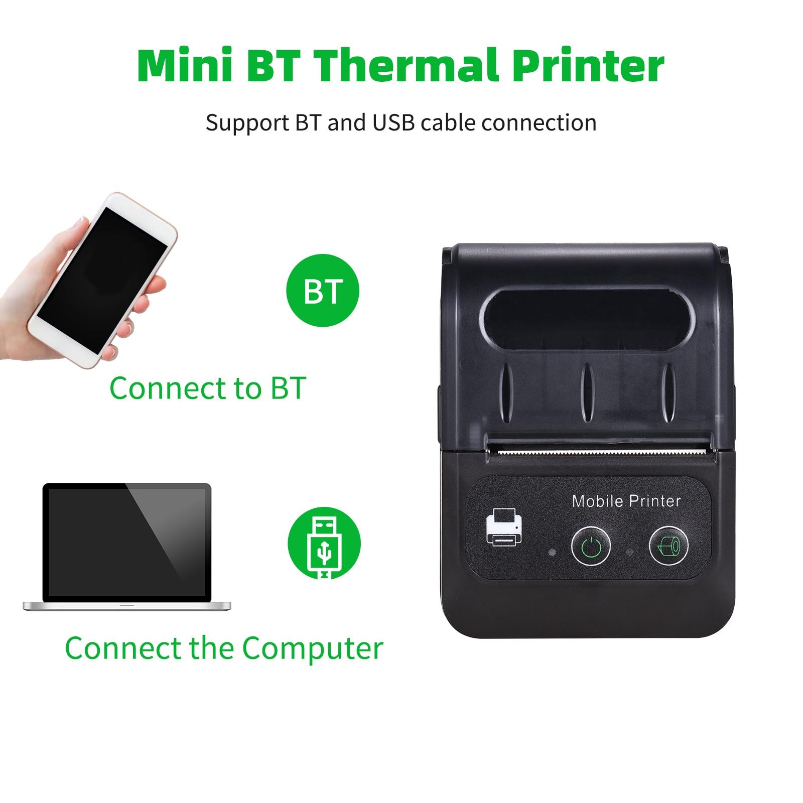 Дешевый Термопринтер для чеков 58 мм с портом USB и Bluetooth, совместим с телефонами на платформе Android и iOS