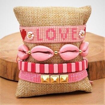 Go2boho Boho MIYUKI Bracelet Women 2020 Fashion Shell Bracelets Ladies Enamel Tile Pulseras Love Letter Jewelry Heart Armband