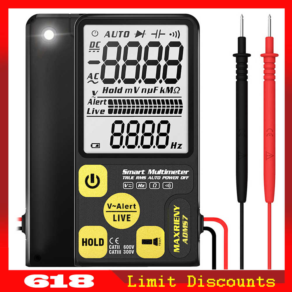 MAXRIENY S7 Digital Multimeter Multifungsi 3-Line Display Voltmeter LED Tegangan Frekuensi Hambatan Ohm NVC Continuity Tester