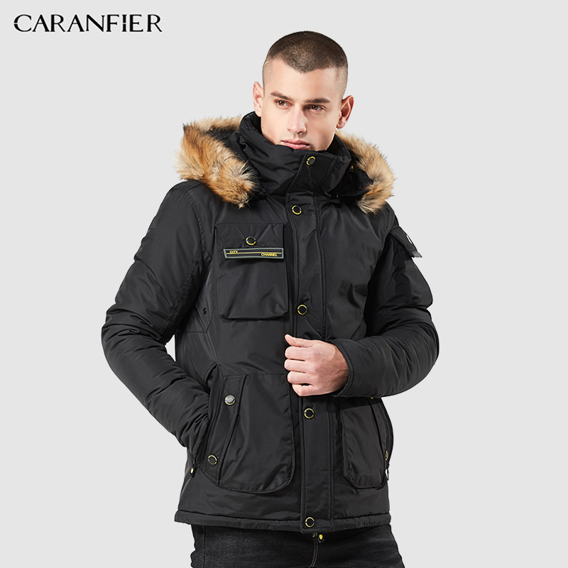 CARANFIER 2019 New Winter Men Parka Jacket Coat Male Thick Cotton-Padded Jacket High Quality Parka Male Fashion Casual Coats