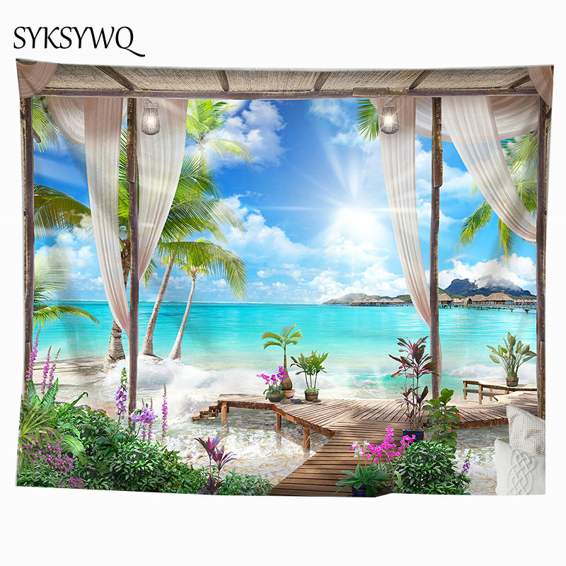 sea beach tapestry palm tree wall hanging carpet flower sand beach wall blanket home decoration(China)