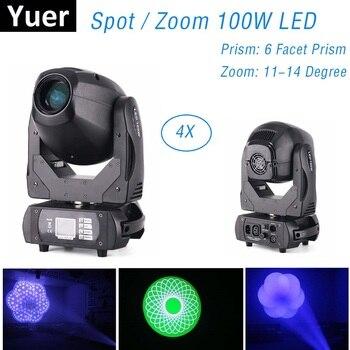цена на 4Pcs Lights + 1Pc Flight Case LED 100W Spot Zoom Light DMX512 Moving Head Gobo Light DJ /Bar /Party /Show /Stage Light Disco KTV