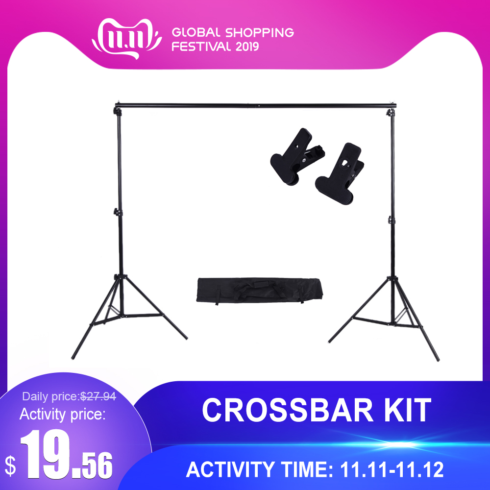 Andoer Photo Studio Background Support Backdrop Crossbar Kit with Two Clamps for Studio 200 * 300cm-in Photo Studio Accessories from Consumer Electronics