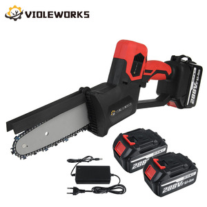 288V 8 inch Rechargeable Electric Saw Chainsaw with 2 Battery 1500W Brushless Motor One-Handed Wood Cutter For Makita Battery