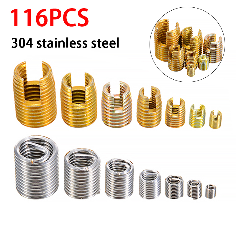 116Pcs Sliver M3-M12 Steel Wire Thread Insert And Gold  Self Tapping Thread Insert Set M3-M12 For Hardware Repair Tools
