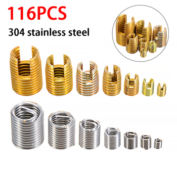 116Pcs Sliver M3-M12 Steel Wire Thread Insert and Gold  Self Tapping Thread Insert Set M3-M12 For Hardware Repair Tools m16 1 5 the tap for wire thread insert fine thread