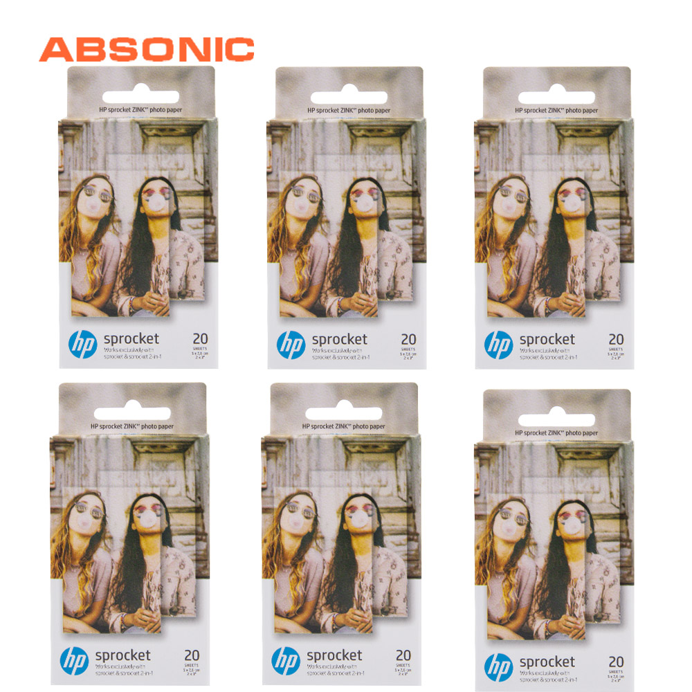 "Absonic 6 Box (120 Sheets) For HP Sprocket Photo Paper 2x3"" Mini Photographic Paper Pocket Photo Printer Zink Paste Photo Paper"