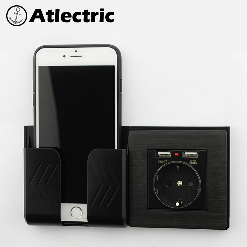 Atlectric Black Brushed Wall Outlet EU Standard Socket With 2100mA Dual USB Charger For Mobile Devices