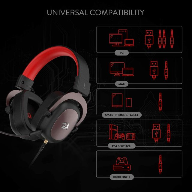 Redragon h510 zeus wired jogo fone de ouvido 7.1 surround som memória espuma almofada da orelha com microfone removível para pc/ps4 e xbox um 2