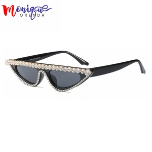 Cat Eye Sunglasses Women 2019 Vintage Sunglasess Black Shades Retro Rhinestone glasses lunette de soleil femme oculos UV400(China)