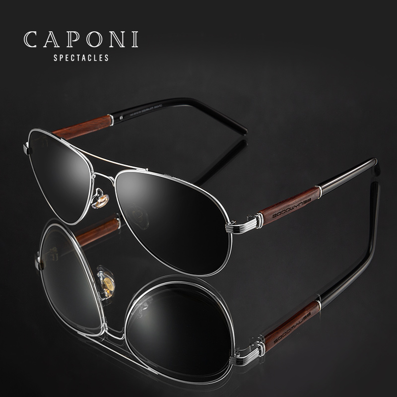 CAPONI 2020 Pilot Sunglasses Polarized UV400 High Quality Wooden Frame Sun Glasses For Men Luxury Brand Driving Eyewear CP409|Men's Sunglasses| - AliExpress