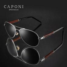 Caponi piloto óculos de sol polarizados uv400 alta qualidade moldura de madeira óculos de sol para homens marca luxo condução óculos tons cp409
