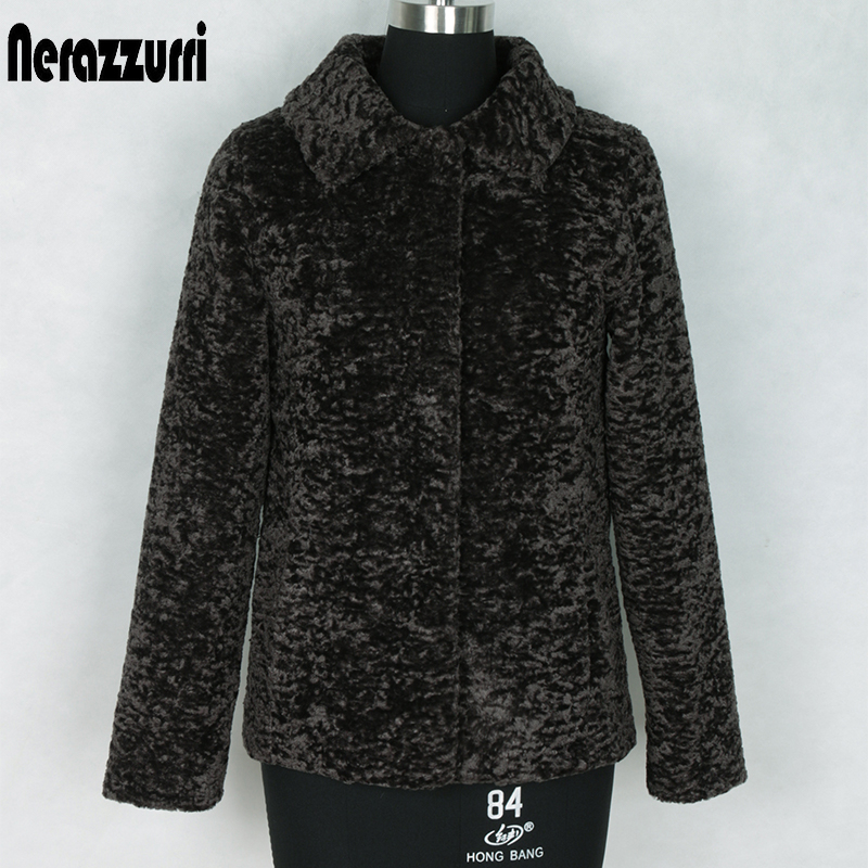 Nerazzurri Autumn Winter Shearling Jacket Women Long Sleeve Turn-down Collar Black Faux Fur Coat Plus Size Woman Clothes 5xl 6xl