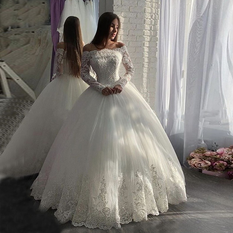 Miaoduo Off The Shoulder Wedding Dresses With Long Sleeves  Bridal Gowns Lace Appliques Vestidos De Noiva 2020
