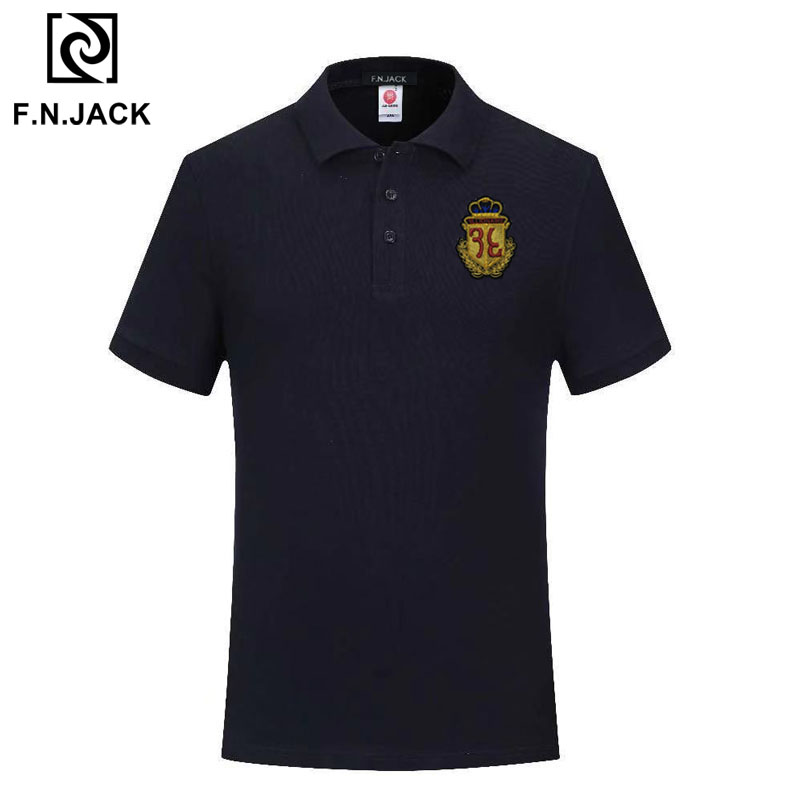 F.N.JACK Men's Classic   Polo   Shirt Handmade Trending Short Sleeve Top Fashion Patch Design   Polo   Anti-Pilling