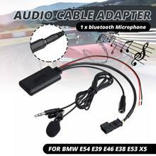 Hd áudio música transmissão bluetooth 5.0 adaptador aux cabo + mic para bmw e54 e39 e46 e38 e53 x5
