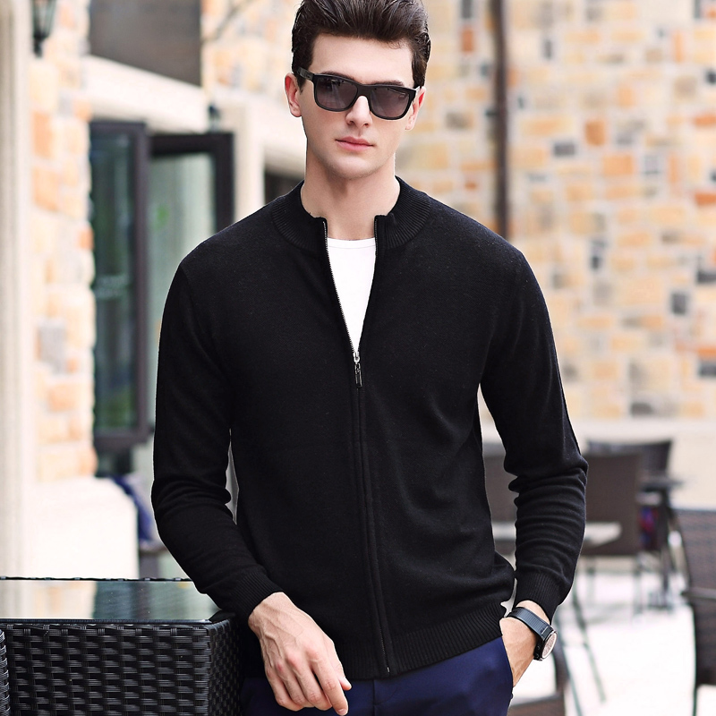 100% Wool Fashion Brand Sweater For Mens Cardigan Slim Fit Jumpers Knitwear Zipper Winter Korean Style Casual Mens Clothes