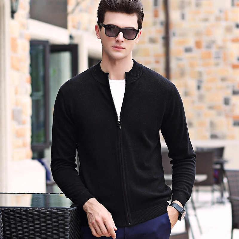 100% 양모 패션 브랜드 스웨터 망 카디 건 슬림 맞는 점퍼 니트 지퍼 겨울 한국 스타일 캐주얼 남성 의류