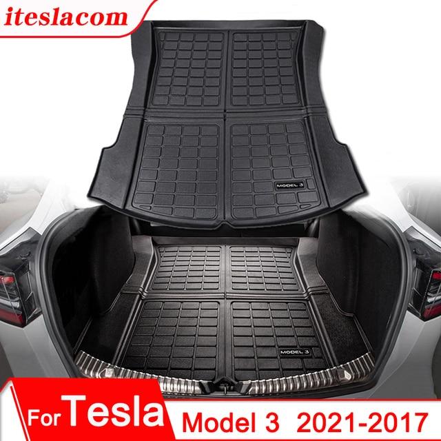 Upgrade Model 3 2021 Trunk Mat TPE Pad For Tesla Model 3 Mat Accessories Trunk Cargo Tray Floor Mat With Model3 LOGO Trunk Mats 1