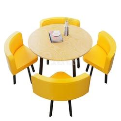 80 см/70 см Четырехместный журнальный столик со стулом, комбинированный стол для переговоров, набор для приема напитков, Круглый Чайный Столи...