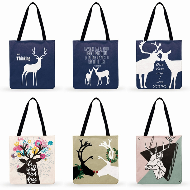 Nordic Literary Deer Illustration Print Tote Bag Women Casual Tote Ladies Shoulder Bag Foldable Shopping Bag Fashion Beach Bags
