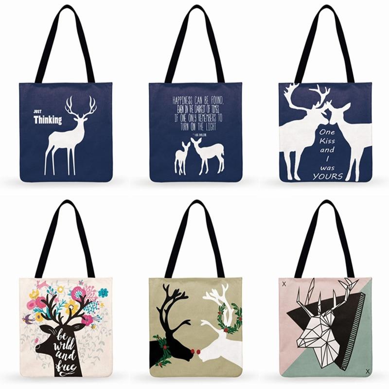 Nordic Literary Deer Illustration Print Tote Bag Women Casual Tote Ladies Shoulder Bag Foldable Shopping Bag Fashion Beach Bags