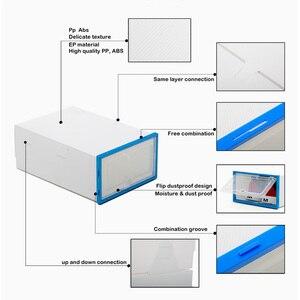 Image 3 - 6pc caixas de armazenamento caixa de sapato Transparente engrossado caixa organizador sapatos à prova de poeira pode ser sobreposto combinação armário da sapata