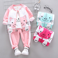 Baby girls clothes sets spring autumn newborn cotton cute coats+tops+pants 3pcs tracksuits for bebe girls infant jogging outfits